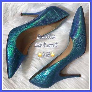Kate Spade Licorice Blue Hologram Croco Heels